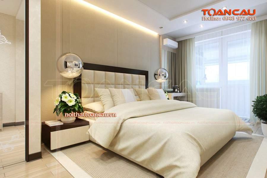 Phòng ngủ với nội thất giường ngủ hiện đại rất ấm áp.