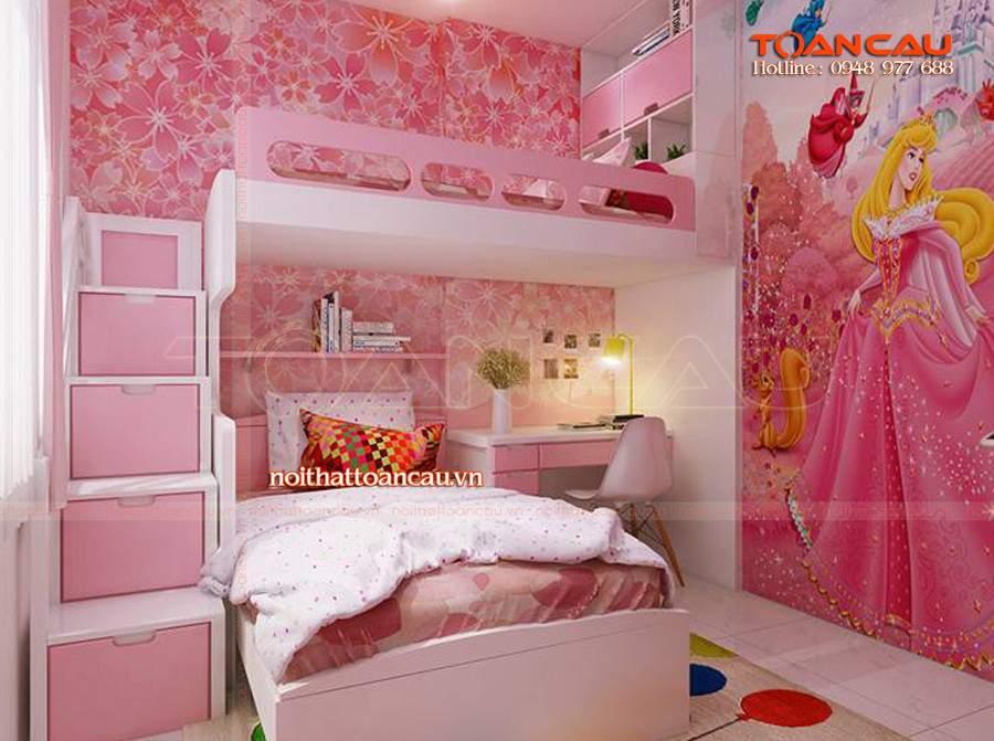 Mẫu giường ngủ màu hồng cho bé gái đẹp