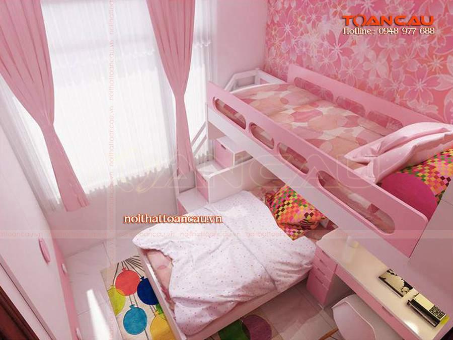 Mẫu thiết kế phòng ngủ đẹp màu hồng cho bé gái