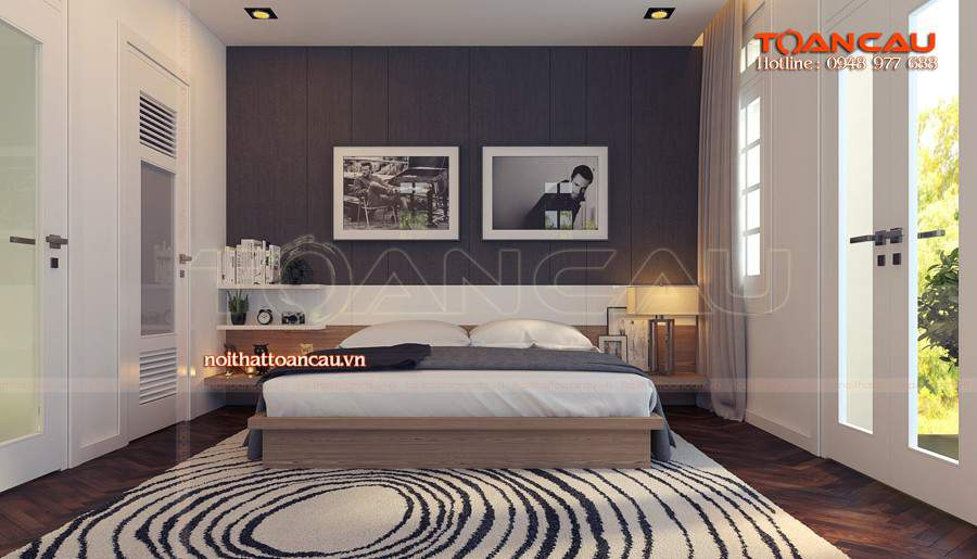 Giường ngủ làm bằng chất liệu gỗ Sồi tốt nhất, đảm bảo chất lượng khi sử dụng
