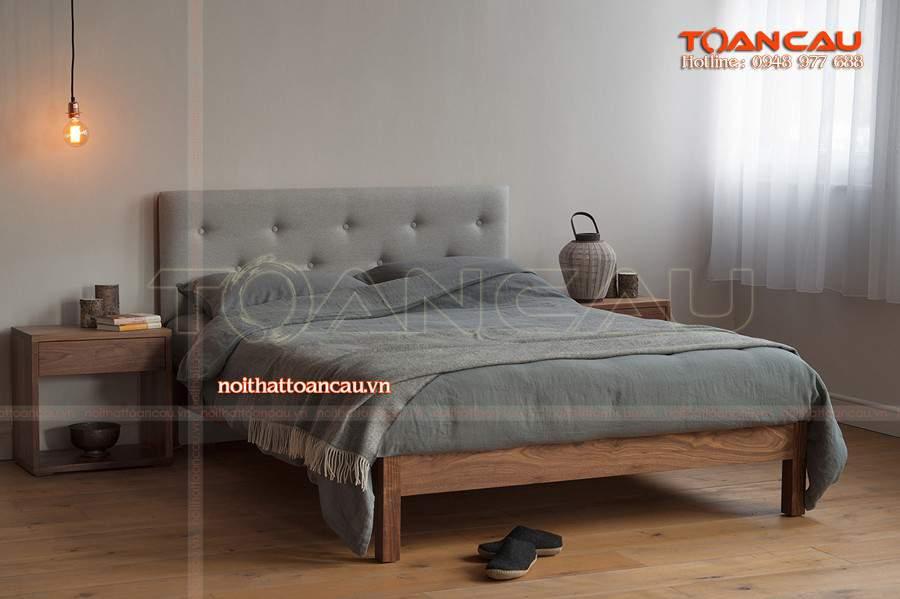 Giường ngủ gỗ đẹp giá rẻ tại hải phòng gam màu trầm