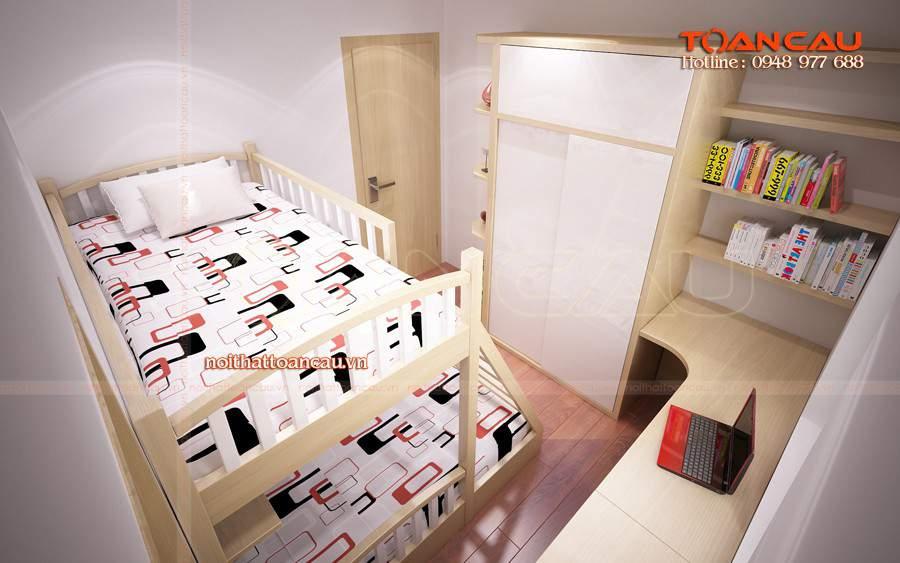 Giường tầng tiết kiệm diện tích, tiện lợi hơn khi sử dụng.