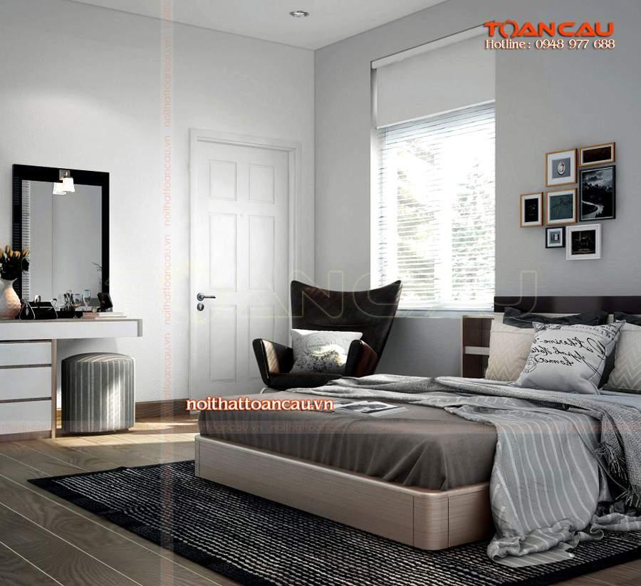 Mẫu giường ngủ đẹp hiện đại làm bằng chất liệu gỗ tự nhiên tốt nhất, đảm bảo chất lượng lâu dài khi sử dụng.