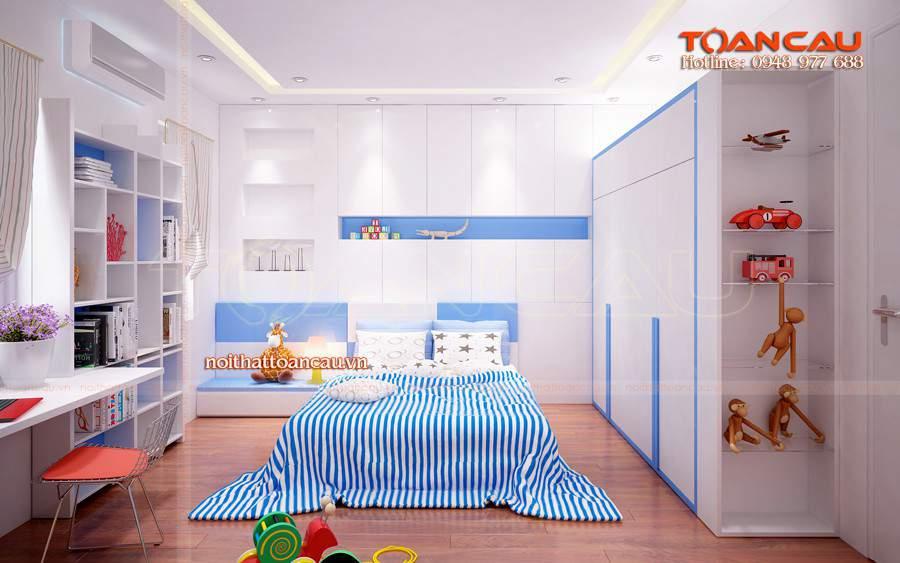 Giường cho bé, giường gỗ công nghiệp kết hợp với tủ áo trẻ em rất tiện dụng