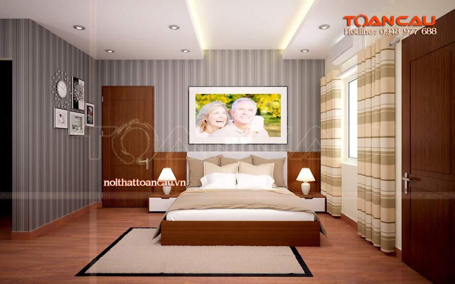 Giường ngủ gỗ, kệ Tivi gỗ giá rẻ Hà Nội - T045 được các gia đình lựa chọn nhiều khi đến với Công ty Toàn Cầu
