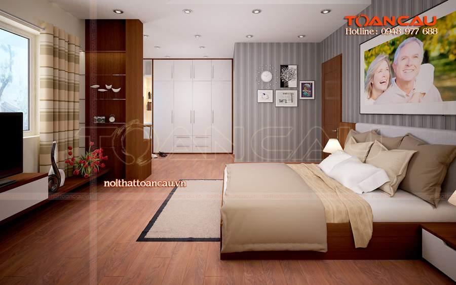 Giường ngủ gỗ, kệ Tivi gỗ thiết kế và thi công tại Toàn Cầu