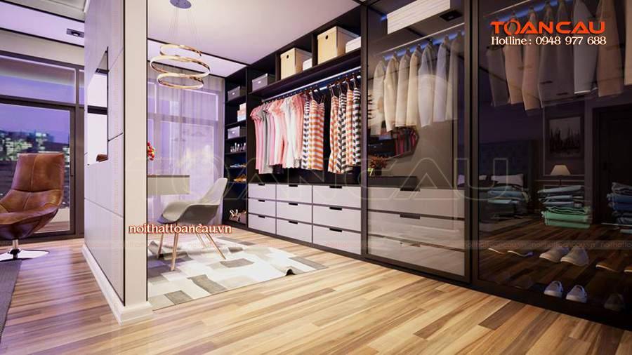 Tủ áo đẹp, tủ làm bằng chất liệu gỗ kếp hợp với kính thêm phần sang trọng