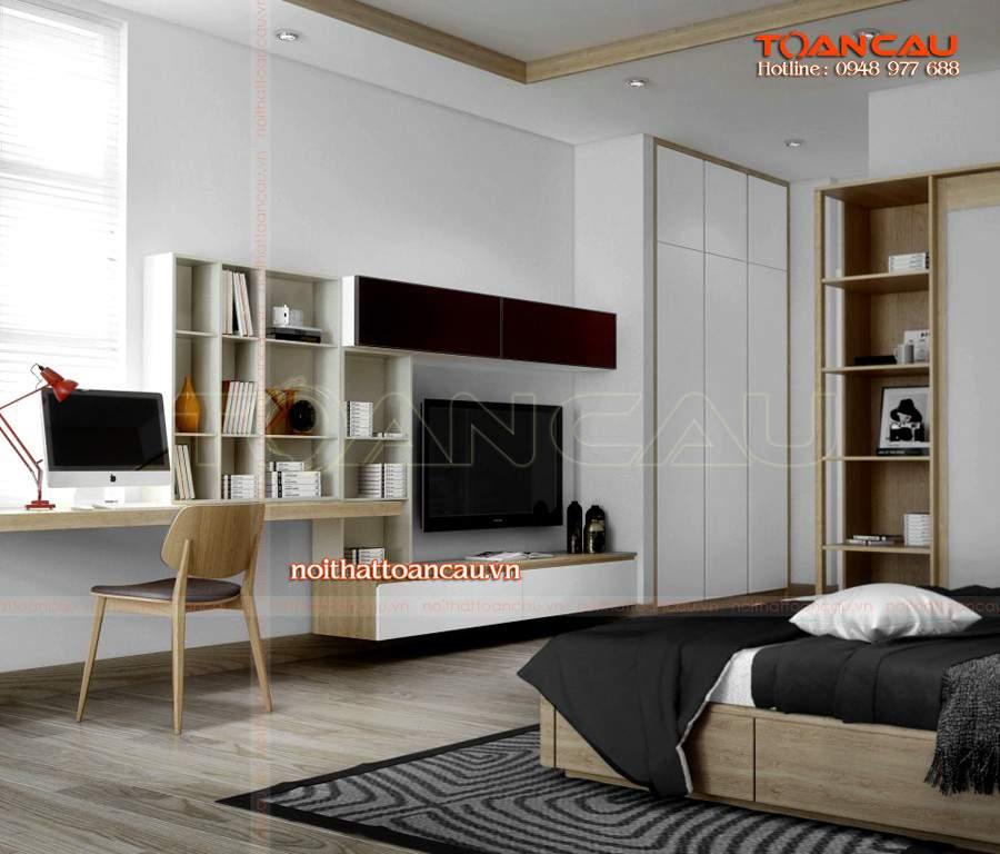 Giường ngủ đẹp kết hợp với kệ Tivi gỗ cao cấp được các gia đình lựa chọn nhiều nhất trên thị trường hiện nay.