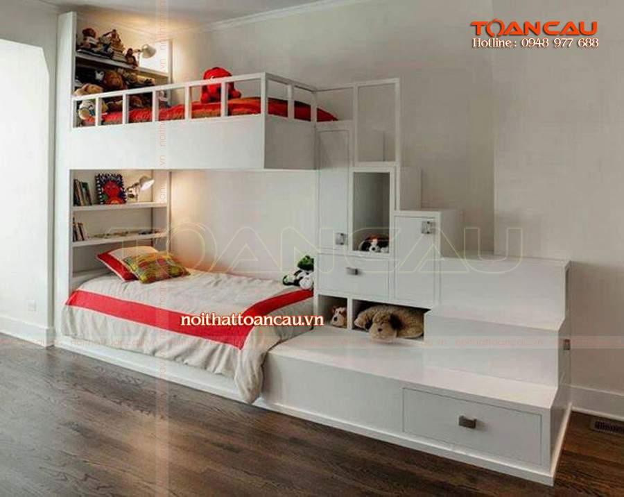 Thiết kế giường tầng trẻ em, giường tầng cho bé làm bằng gỗ tự nhiên với màu trắng sang trọng