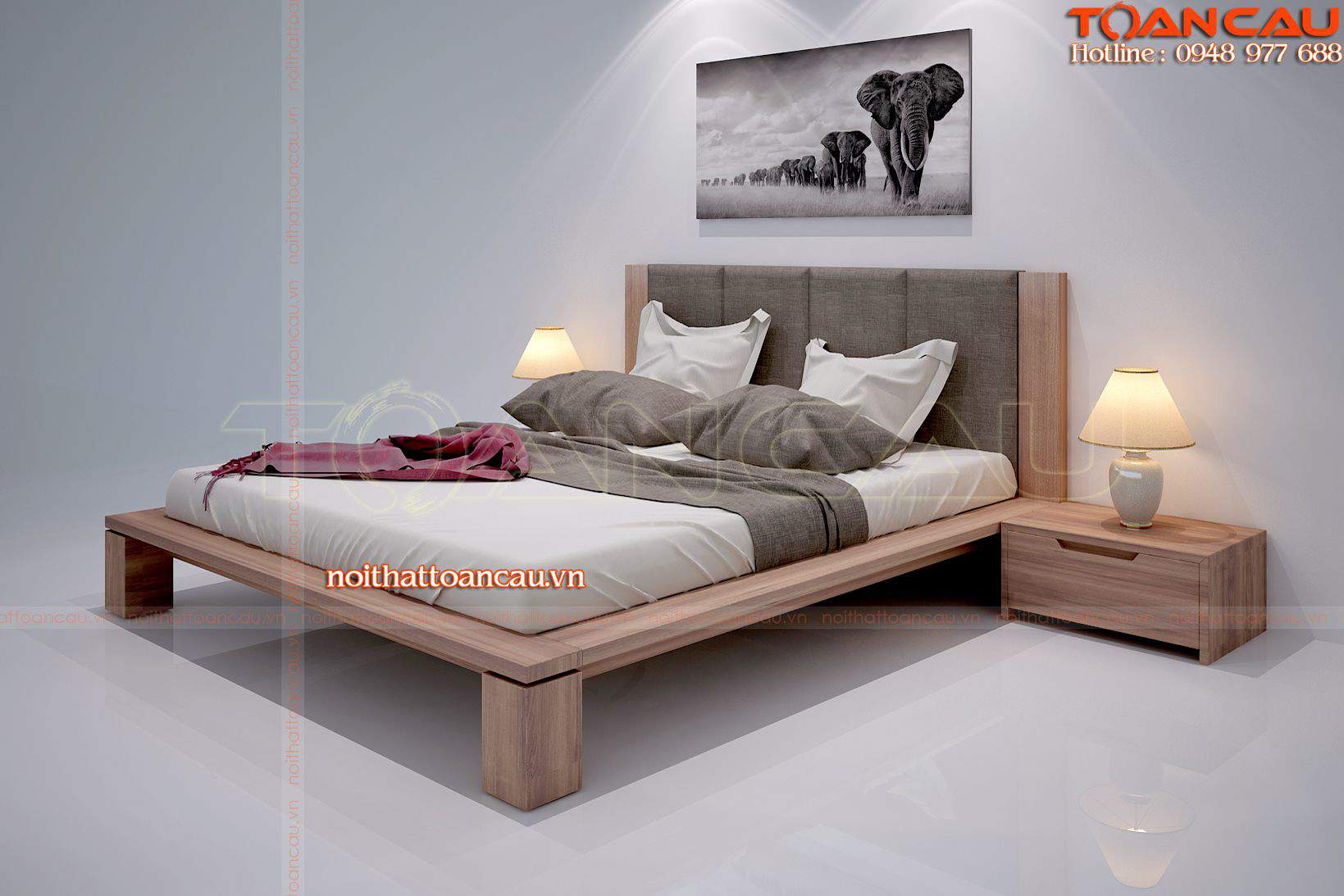 giường tủ gỗ tự nhiên