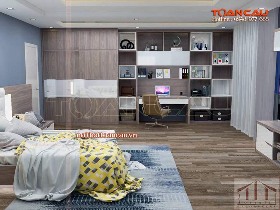 Sofa giường gỗ - tủ kệ Tivi phòng ngủ kết hợp tạo nên một phòng ngủ sang trọng, hiện đại hơn