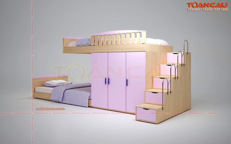 Giường tầng kết hợp tủ quần áo cho bé gái giá rẻ