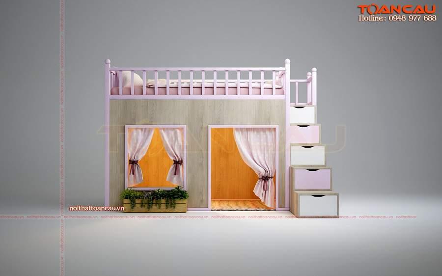 Giường tầng lâu đài cho bé gái – TC1117B