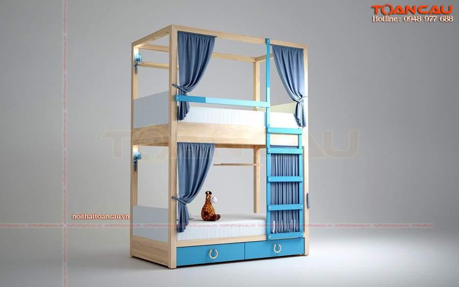 Giường tầng màu xanh cho 2 bé trai hiện đại