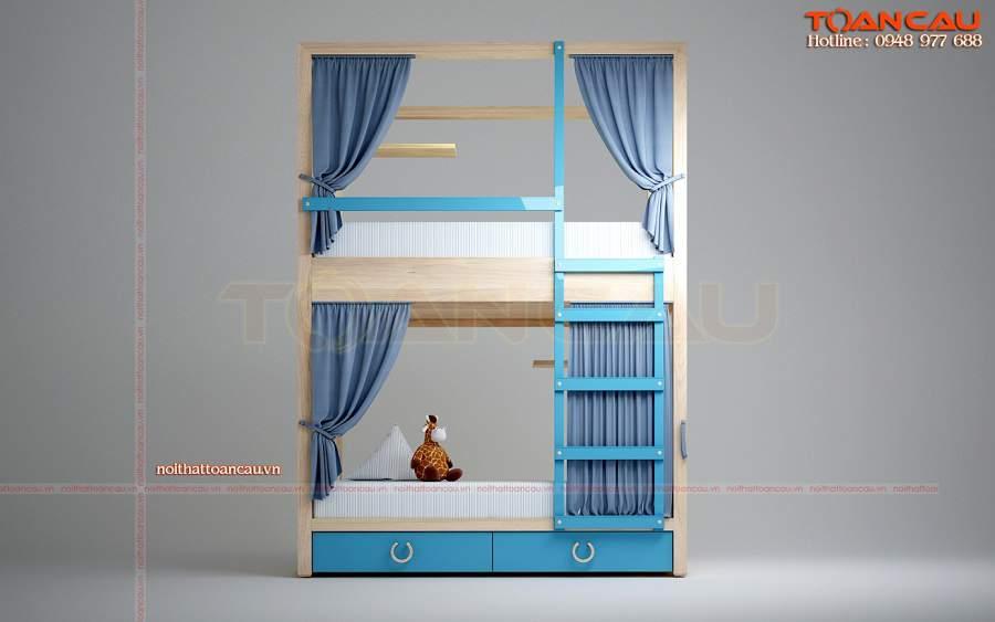 Giường tầng màu xanh cho 2 bé trai cho phòng ngủ nhỏ