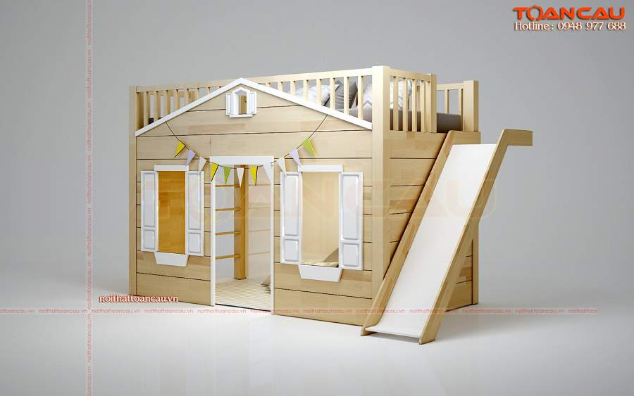 Giường tầng trẻ em có cầu trượt  sang trọng