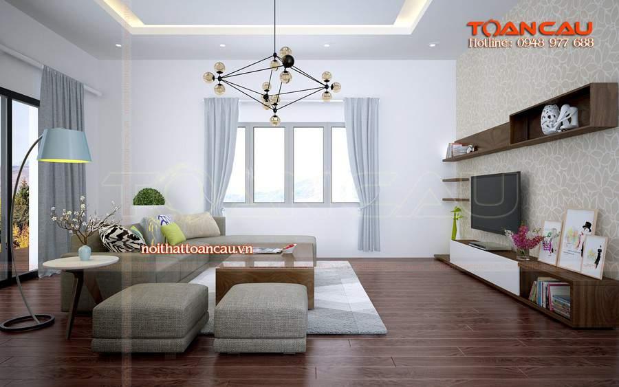 Thiết kế nội thất phòng khách với chiếc kệ tivi gỗ xoan đào đẹp