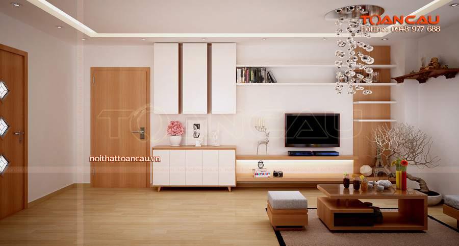 kệ gỗ tivi treo tường cho nhà hiện đại