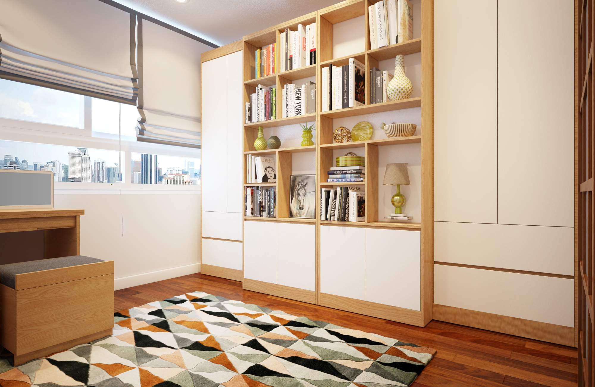 Giường ngủ đa năng kết hợp tủ trang trí có thể gấp lại gọn gàng giúp tiết kiệm diện tích cho căn phòng