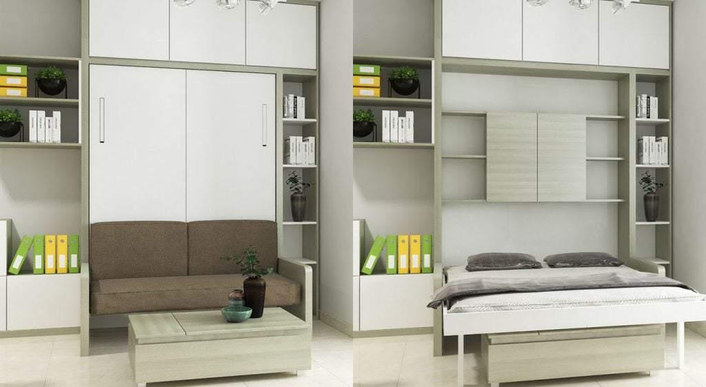 Mẫu giường ngủ kết hợp bàn làm việc tiện nghi cho căn hộ nhỏ