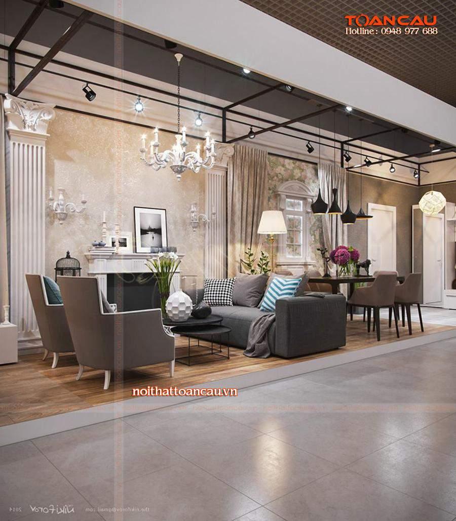 Mẫu bàn ghế Sofa phù hợp với nhà chung cư làm bằng chất liệu gỗ cao cấp, bông, vải nỉ nhập khẩu