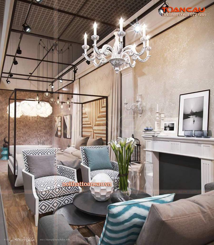 Mẫu bàn ghế Sofa phù hợp với nhà chung cư kết hợp với phong cách Châu Âu, làm nổi bật cho không gian phòng khách