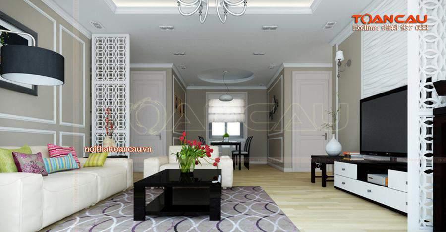 Mẫu bàn ghế Sofa phù hợp với nhà chung cư mang màu trắng sang trọng thể hiện sự trẻ chung