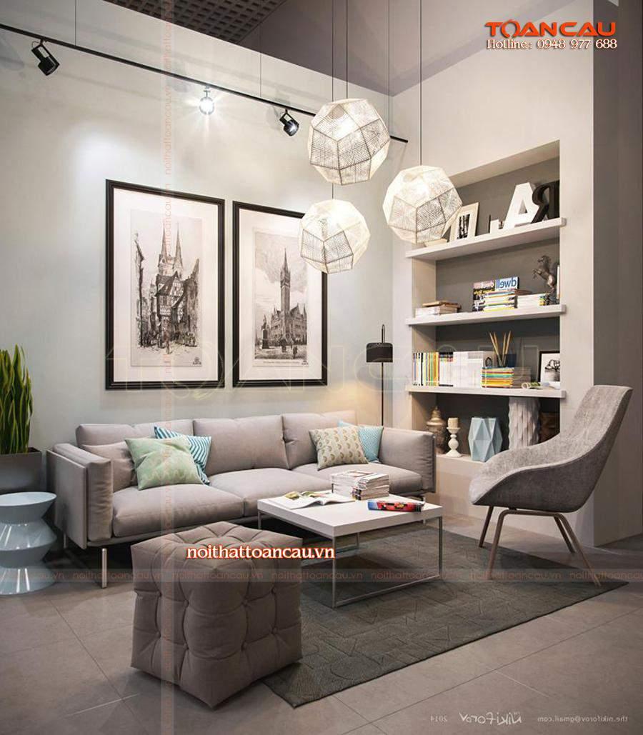 Mẫu bàn ghế Sofa phù hợp với nhà chung cư mang màu xám thể hiện sự ấm áp, sang trọng