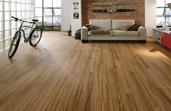 Mẫu gạch hoạt tiết vân gỗ lát nền phòng khách đẹp