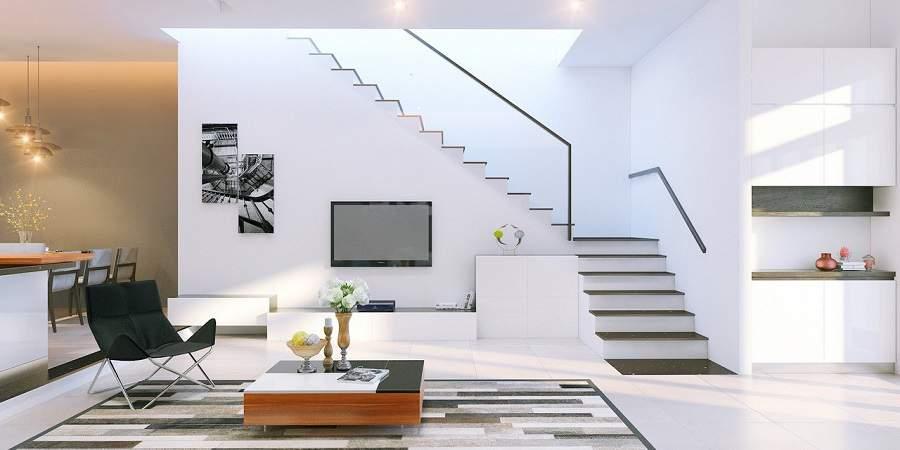 Mẫu thiết kế phòng khách đẹp có cầu thang đẹp hiện đại