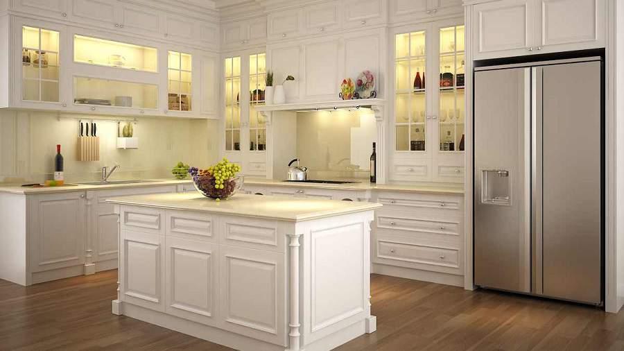 Mẫu tủ rượu âm tường phòng bếp hiện đại