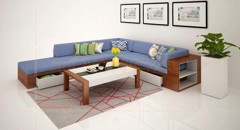 thiết kế nội thất phòng khách đẹp với bộ sofa gỗ chữ L đẹp và sang trọng
