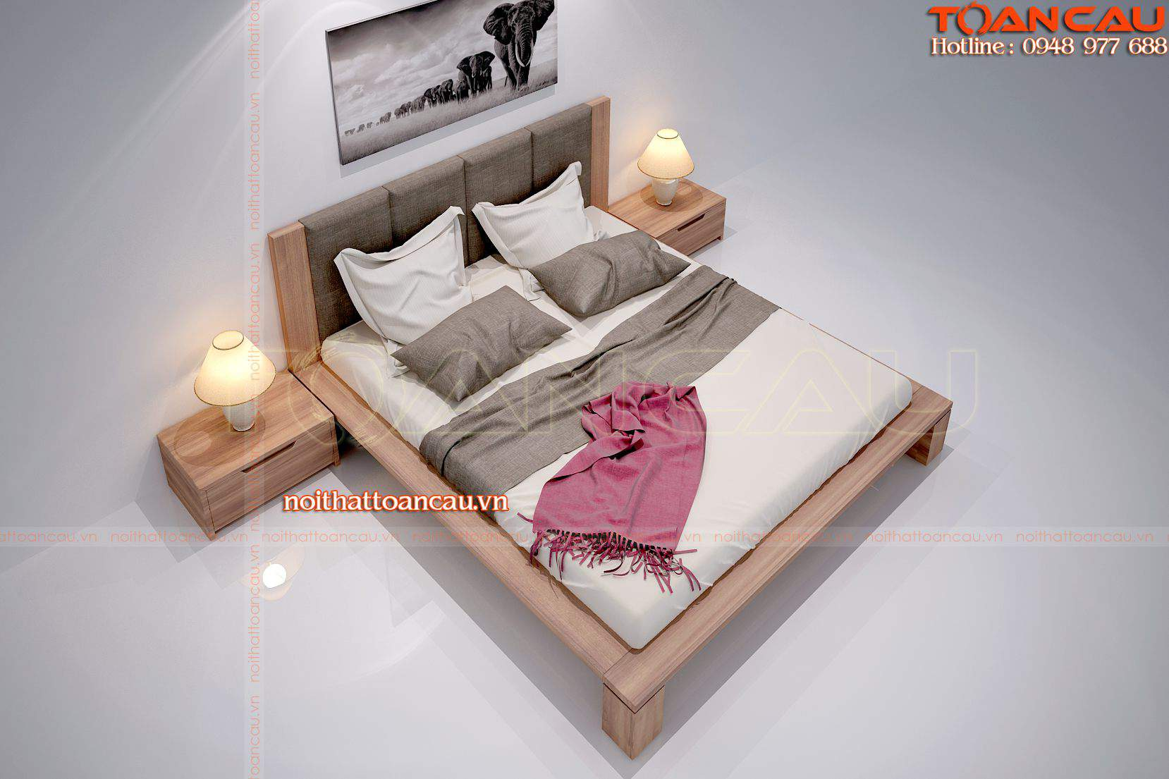 Giường ngủ bằng gỗ óc chó hiện đại