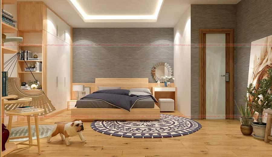 Mẫu thiết kế phòng ngủ gỗ tự nhiên chỉ có tại Nội thất Toàn Cầu