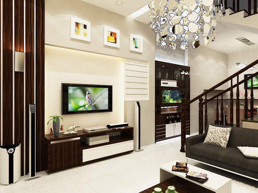 Phòng khách nhà ống 5m hiện đại đẹp ưng ý
