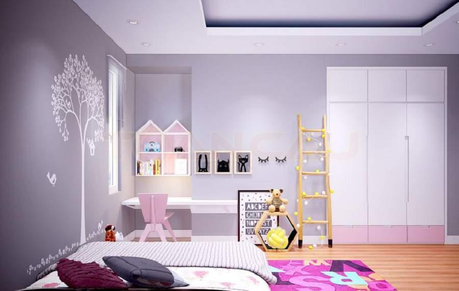 Mẫu thiết kế nội thất đẹp hiện đại cho phòng ngủ bé gái