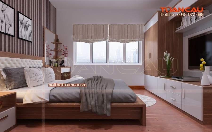 Giường ngủ thiết kế bằng gỗ Sồi nhập khẩu được thi công và thiết kế tại Công ty nội thất Toàn Cầu