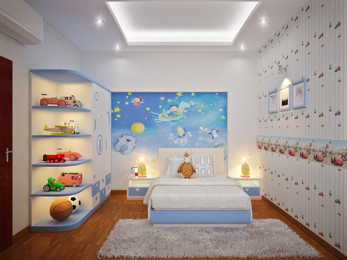 Phòng ngủ cho bé trai tươi tắn, năng động