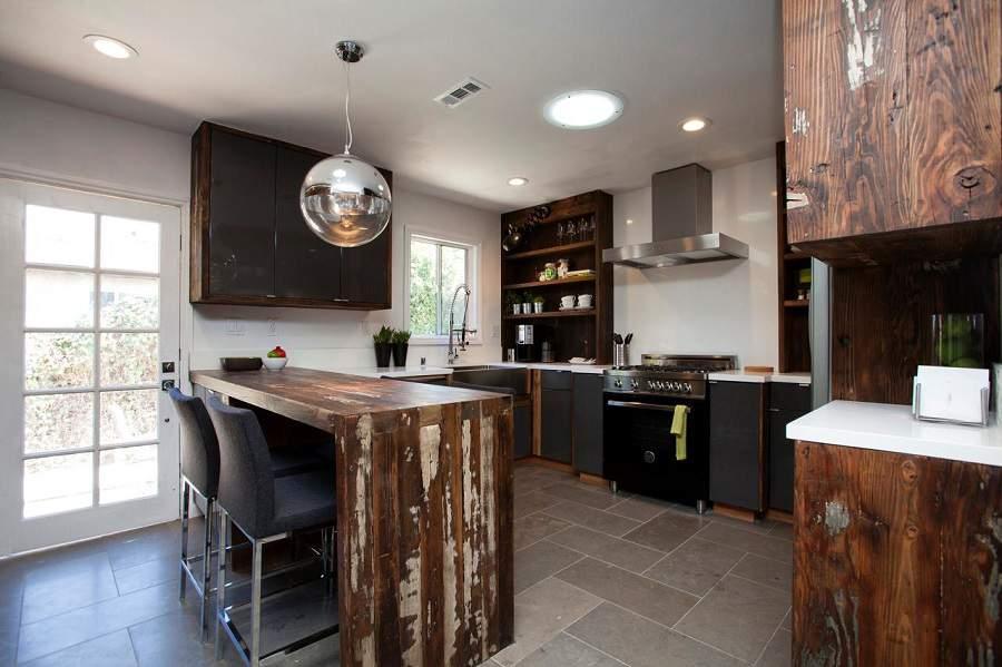 Quầy bar ngăn bếp và phòng khách đẹp hiện đại