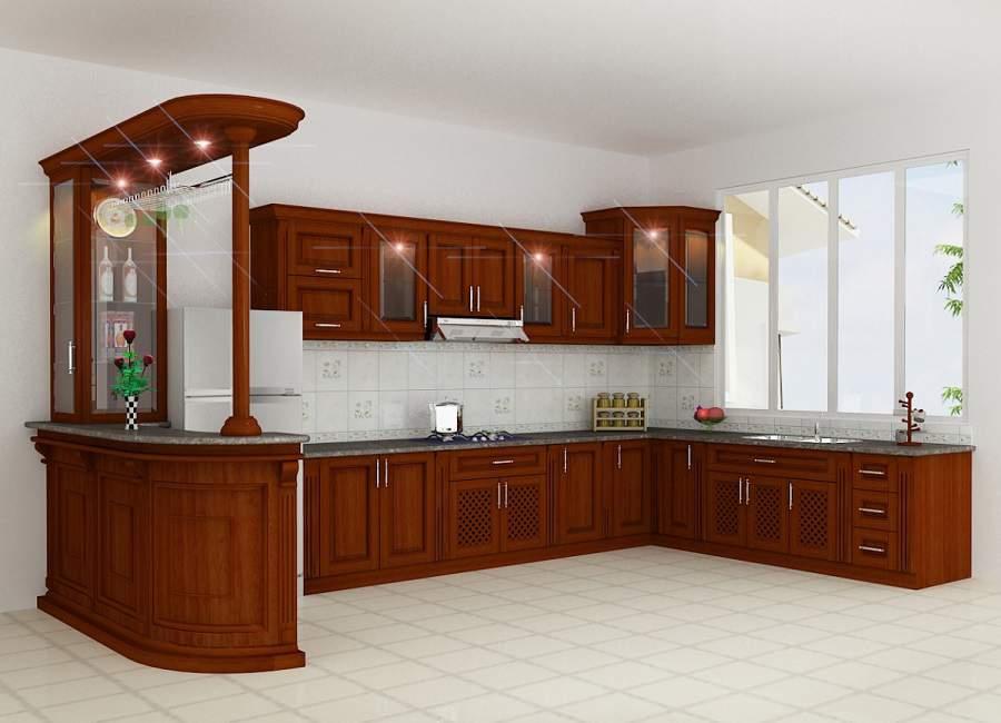 Quầy bar ngăn bếp và phòng khách cho nhà xinh