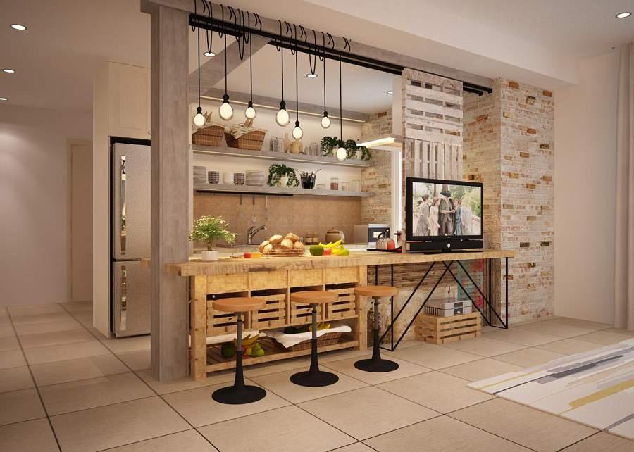 mẫu quầy bar bếp đơn giản