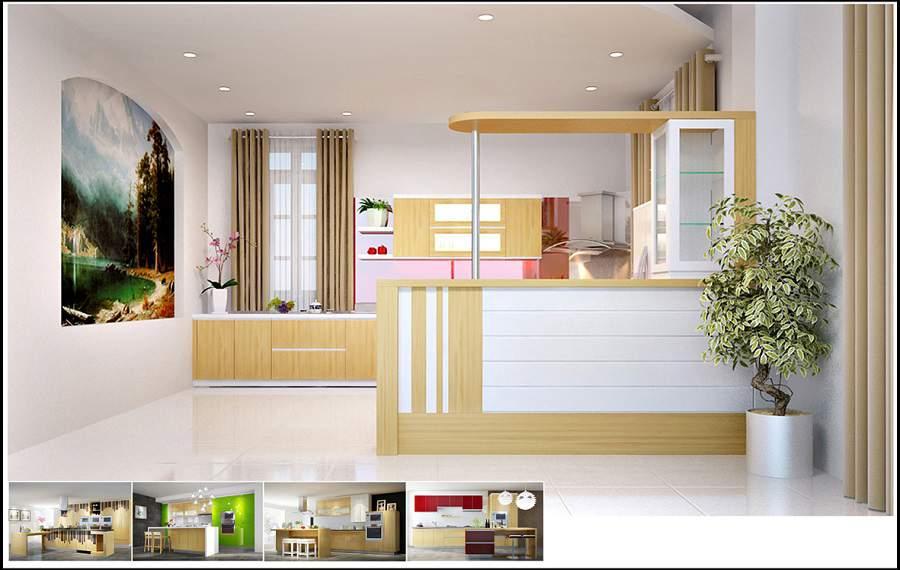 quầy bar ngăn bếp và phòng khách đẹp tiện dụng
