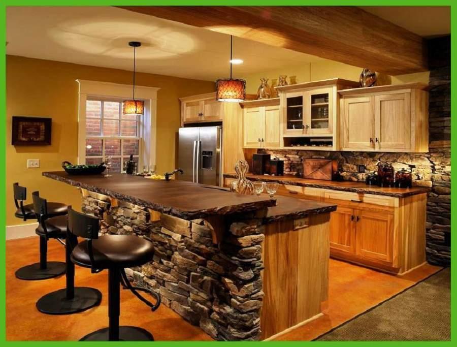 thiết kế phòng khách và bếp liền nhau bằng quầy bar
