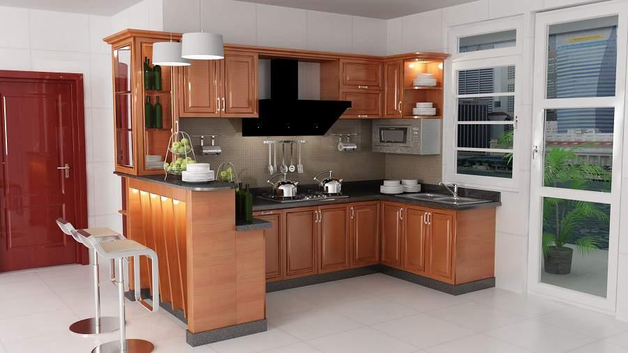 xây vách ngăn phòng khách và bếp bằng quầy bar
