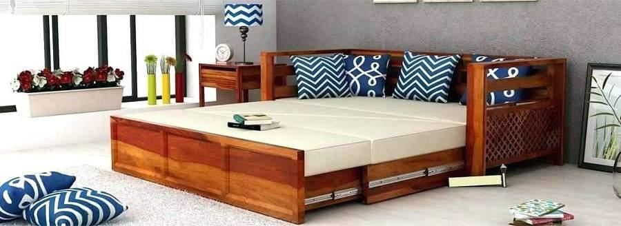 Mẫu ghế kết hợp giường gỗ tự nhiên đẹp và tiện nghi