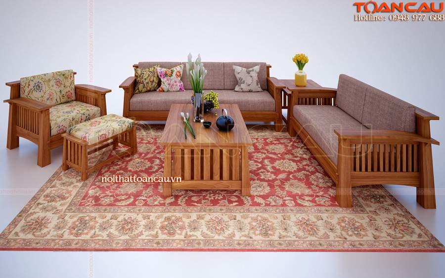 Bộ bàn ghế sofa gỗ xoan đào làm cho căn phòng khách trở nên ấn tượng hơn