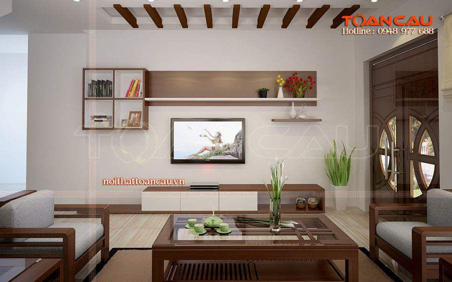 Thiết kế phòng khách bằng gỗ óc chó