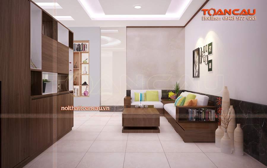 phòng khách đẹp bằng gỗ óc chó tại Ninh Bình rất đẹp và sang