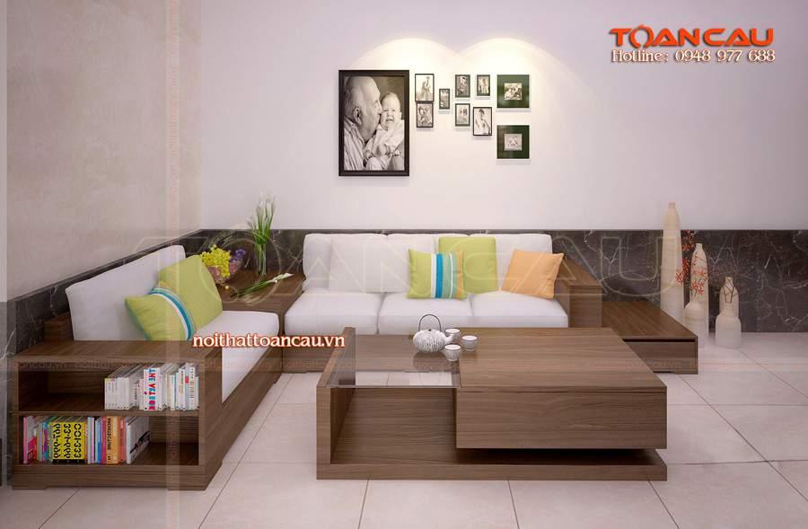 thiết kế phòng khách đẹp bằng gỗ óc chó rất sang và tiện