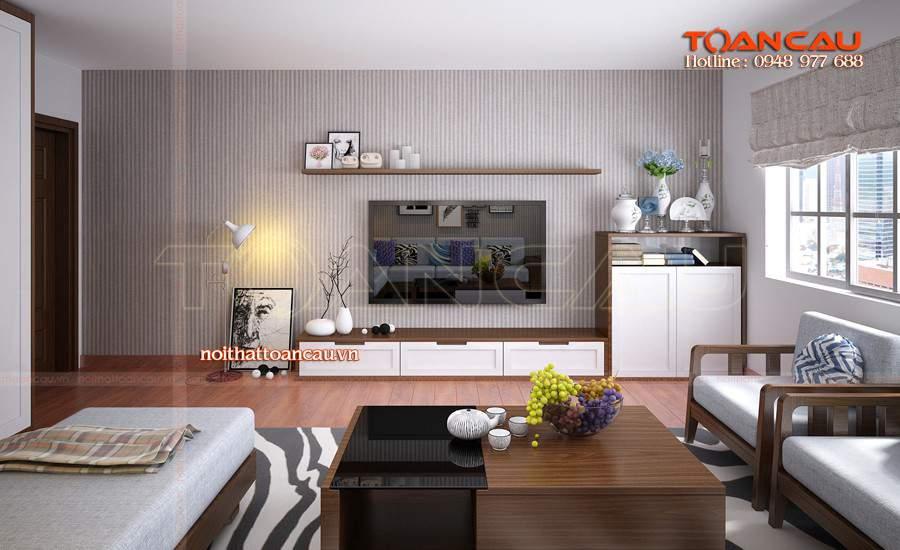 Mẫu thiết kế phòng khách đẹp bằng gỗ óc chó tại Bình Phước sang và đẹp